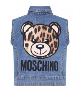 MOSCHINO KIDS Denim girl vest with spotted Teddy Bear