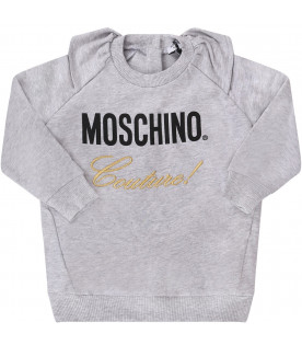 MOSCHINO KIDS Melanged grey baby girl tracksuit with logo and gold writing