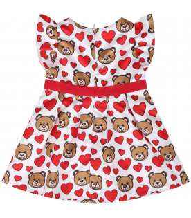 MOSCHINO KIDS White girl dress dress with Teddy Bear and hearts