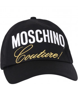 MOSCHINO KIDS Black girl hat with logo and gold writing
