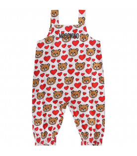 MOSCHINO KIDS White baby girl overall with Teddy Bear and hearts