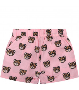 MOSCHINO KIDS Pink baby girl shorts with spotted Teddy Bear