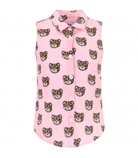 MOSCHINO KIDS Pink girl shirt with spotted Teddy Bear