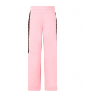 Pink girl pants with side FF stripe