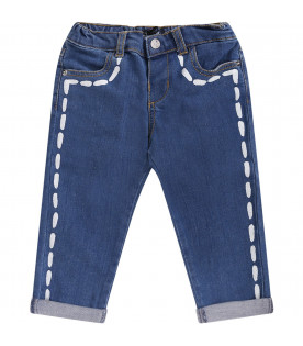 MOSCHINO KIDS baby boy denim jeans with painted seams