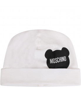 MOSCHINO KIDS White newborn beanie hat with black Teddy Bear