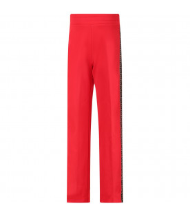 Red girl pants with side FF stripe