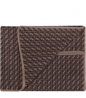 FENDI KIDS Brown newborn blanket with double FF