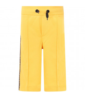 FENDI KIDS Yellow girl shorts with side FF stripes