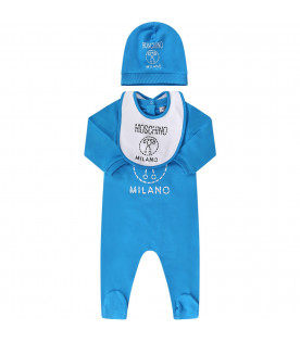 MOSCHINO KIDS Blue and white baby boy set with dotted logo