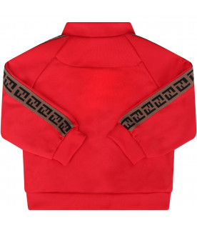 FENDI KIDS Red sweatshirt with side FF stripe