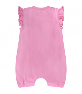 MOSCHINO KIDS Pink baby girl set with Teddy Bear and hearts