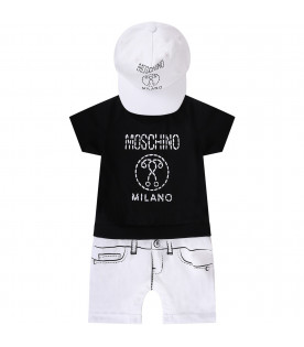 MOSCHINO KIDS White and black set with dotted logo