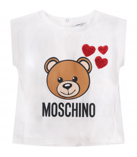 MOSCHINO KIDS White and pink baby girl set with teddy Bear and hearts