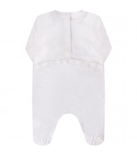 MOSCHINO KIDS White baby girl set with spotted logo