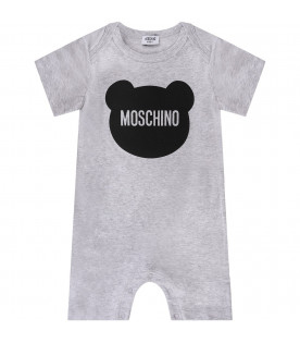 MOSCHINO KIDS Melanged grey and white set with black Teddy Bear