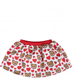 MOSCHINO KIDS White baby girl skirt with teddy Bear and hearts