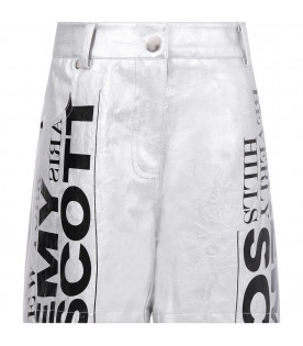 JEREMY SCOTT Silver girl shorts with logo