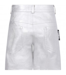 Silver girl shorts with logo
