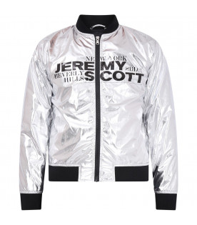 JEREMY SCOTT Silver bomber kids jacket with logo