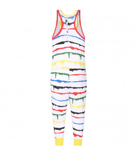STELLA MCCARTNEY KIDS White girl jumpsuit with colorful stripes