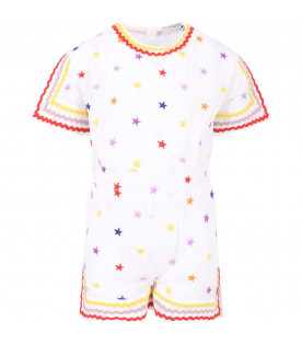 STELLA MCCARTNEY KIDS White girl jumpsuit with colorful stars