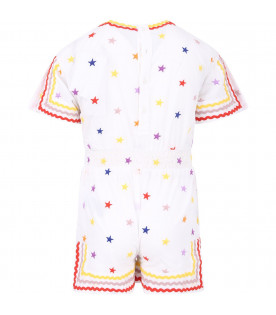 STELLA MCCARTNEY KIDS Tuta bianca per bambina con stelle colorate