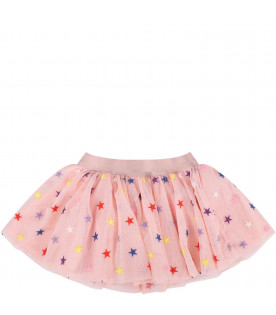 STELLA MCCARTNEY KIDS Pink babygirl skirt with colorful stars