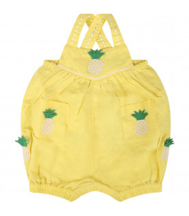 STELLA MCCARTNEY KIDS Yellow babygril romper with pineapple