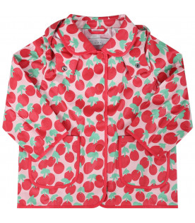 STELLA MCCARTNEY KIDS Pink babygirl raincoat with red all-over cherries