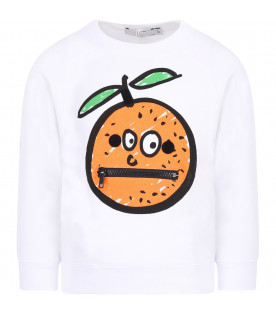 STELLA MCCARTNEY KIDS White kids sweatshirt with colorful orange and patches