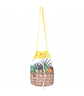 STELLA MCCARTNEY KIDS White and yellow girl bag with colorful fruits