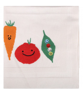 STELLA MCCARTNEY KIDS White babyboy blanket with colorful vegetables