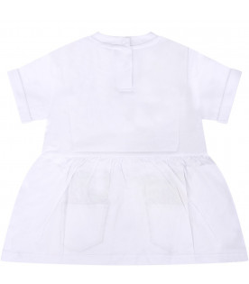 STELLA MCCARTNEY KIDS White babygril dress with colorful fruits