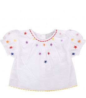 STELLA MCCARTNEY KIDS Set bianco per neonata con stelle colorate
