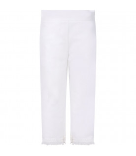 White trousers for girl with fringed