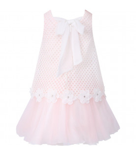 LOREDANA White and pink girl dress with flowers and rhinestones
