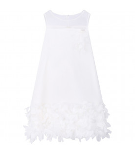 LOREDANA White girl dress with petals