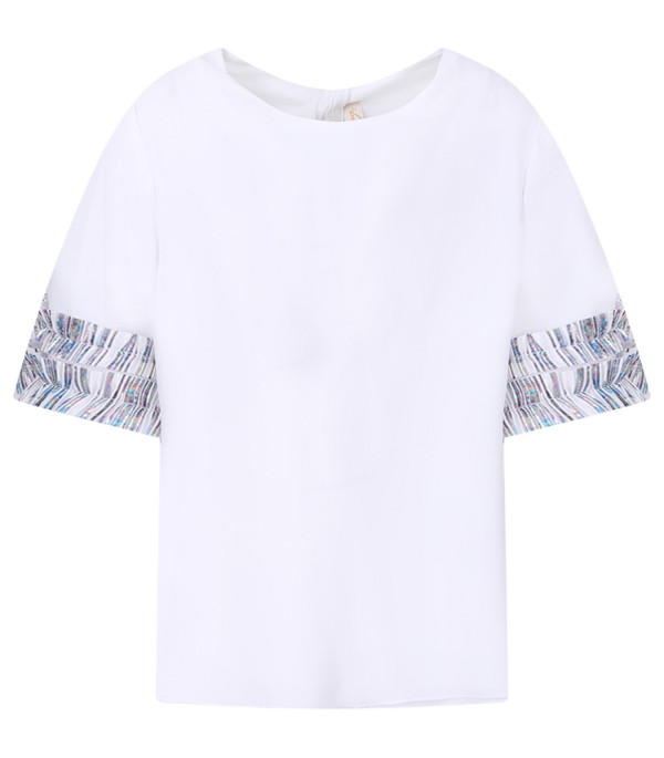 LOREDANA White girl blouse with colorful details