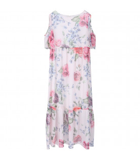 LOREDANA White girl dress with colorful flowers