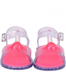 MINI MELISSA Clear girl sandals with red lollipop