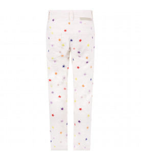 STELLA MCCARTNEY KIDS White girl pants with colorful stars