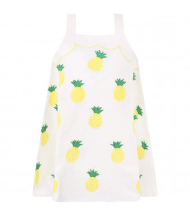 STELLA MCCARTNEY KIDS Abito avorio per bambina con ananas colorate