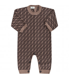 FENDI KIDS Brown babykids babygrow with double FF