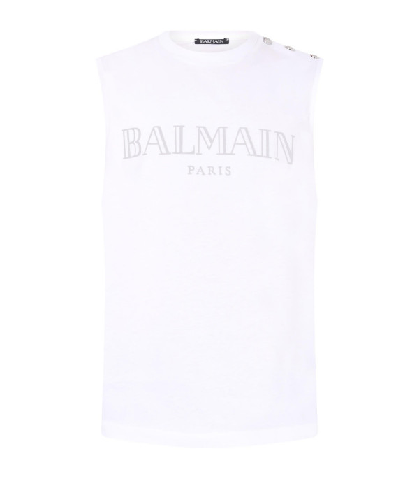 BALMAIN KIDS White girl vest with silver logo