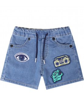 KENZO KIDS Light blue babyboy short with colorful patches
