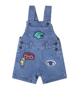 KENZO KIDS Light blue babyboy overall with iconic colorful patches