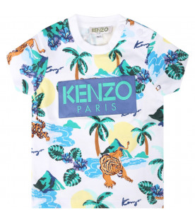 KENZO KIDS White babyboy T-shirt with colorful all-over tigers