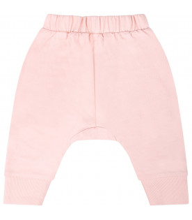 KENZO KIDS Pink babygirl sweatpant with white tigers