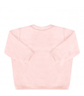KENZO KIDS Pink babygirl sweatshit with colorful iconic tiger and flowers